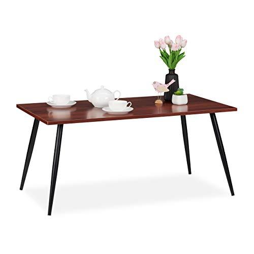 Relaxdays salontafel, retro, legplank in de woonkamer en slaapkamer, laag & rechthoekig, salontafel, HBT 45x100x55 cm, rood, PB (Particle board), metaal, 45 x 100 x 55 cm