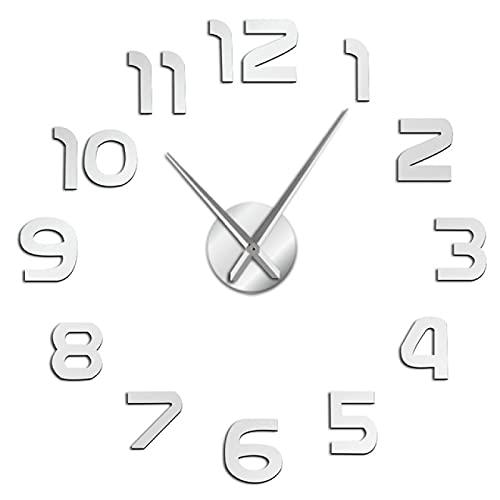 hufeng Reloj de Pared DIY Reloj de Pared Diseño Simple y Moderno DIY Efecto de Espejo 3D Números árabes Etiqueta Reloj de Pared Decoración para el hogar Reloj de Pared Plata