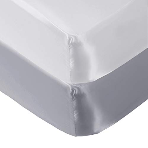 Pro Goleem 2 Pack Satin Soft Crib Sheet Great for Baby with Sensitive Hair Silky Baby Mattress Sheet White and Gray Unisex 52''x28''x8'' Fitted Sheets