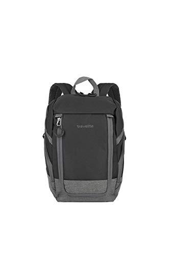 travelite Handgepäck Rucksack für Reise, Freizeit und Sport, Gepäck Serie BASICS Daypack: Kompakter travelite Rucksack, 096290-01, 35 cm, 14 Liter, schwarz/grau