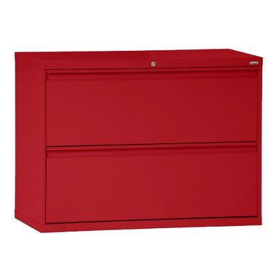 Sandusky Lee LF8F302-01 800 Series 2 Drawer Lateral File Cabinet, 19.25' Depth x 28.375' Height x 30' Width, Red