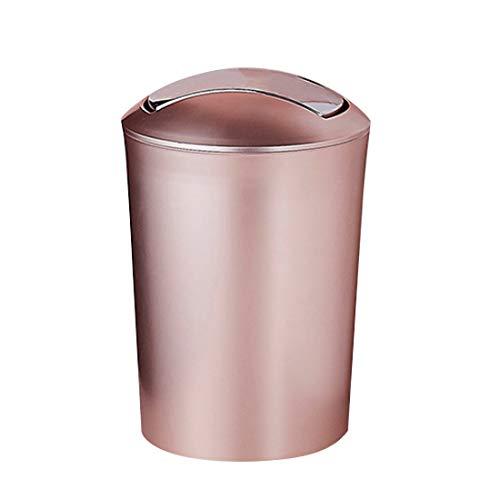 PHYNEDI 10L Kunststoff Mülleimer mit Schwingdeckel Flip Top Mülleimer-Roségold