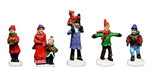 Christmas Village Figurines 5 Piece Decoration Set Perfect Addition to Your Christmas Indoor Decorations & Snow Village Displays (Family Christmas Set)