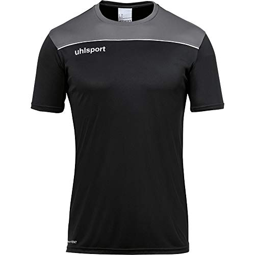 uhlsport Herren Offense 23 Poly Shirt Fussball Trainingsbekleidung, Marine/Bordeaux/Fluo gelb, 128