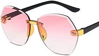 weichuang - weichuang Gafas de sol para niños con montura ovalada sin montura para niños, color gris, rosa, azul, lentes modernas, protección UV400, gafas de sol para niños (lentes de color: C1 rosa)