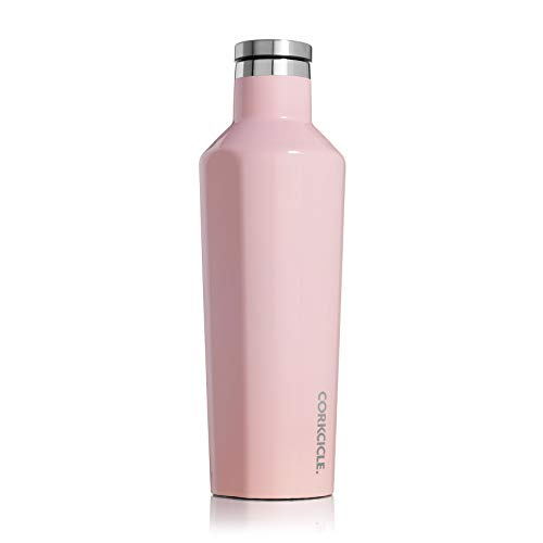 Corkcicle Canteen - Water Bottle & Thermos - Triple Insulated Stainless Steel, 16 oz, Gloss Rose Quartz