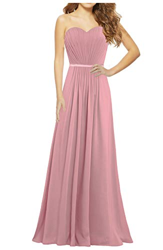 ANTS Women's Strapless Chiffon Bridesmaid Dresses Long Gown Size 8 US Blush