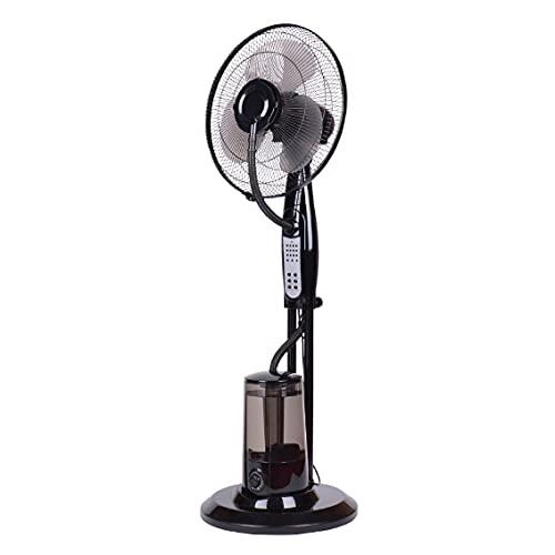 TENKO Ventilador de pie con nebulizador de agua, ventilador de agua de 3 aspas de 40 cm, ventilador portátil de 3 velocidades, temporizador integrado, mando a distancia incluido. Auto oscilación.