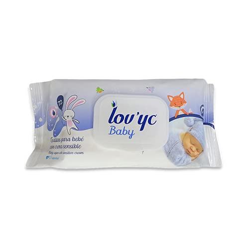 Lov'yc Toallitas húmedas para bebé con Crema Sensible, 72 toallitas