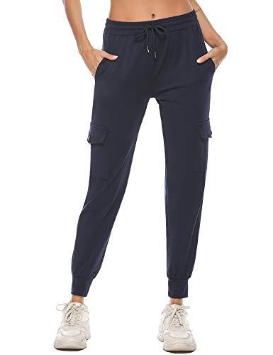 iClosam Pantaloni Tuta Donna in Cotone Pantaloni Sportivi Donna con Tasche Pantaloni Jogger Morbidi Leggeri per Jogging Fitness Blu S