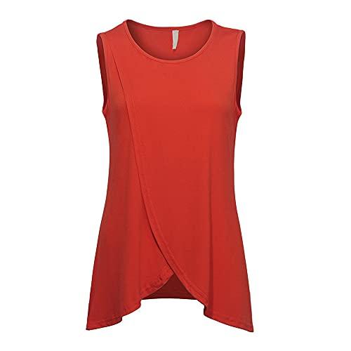 Blusa Mujer Elegante Color Sólido Sin Mangas Cuello Redondo Slim Fit Tops Mujer Dobladillo Irregular Moda Casual Tops All-Match Mujer Transpirable Fino Y Ligero D-Red XXL