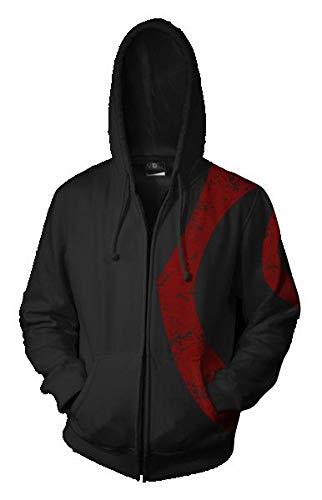 QYIFIRST Sudadera con capucha para disfraz de Manteau Sparta de dibujos animados para cosplay Homme Femme Abrigo de gabardina unisex, color negro, talla 4XL (pecho 122 cm)
