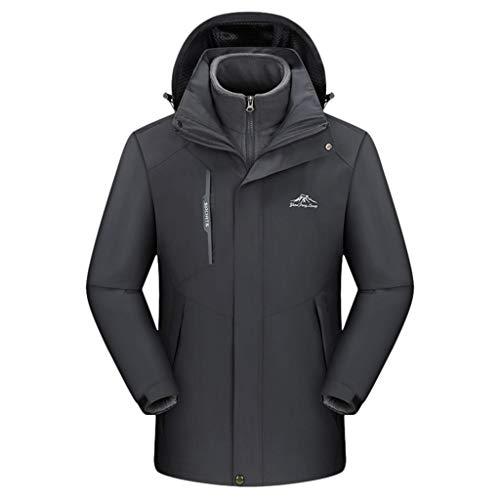 Best Deals! Men Winter Jackets with Hooded Waterproof Hoodie Detachable Breathable Sport Two-Piece S...