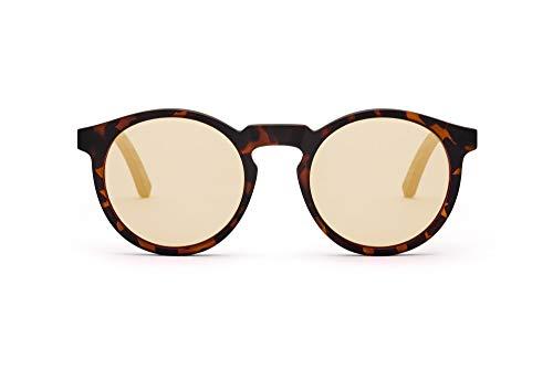TAKE A SHOT Holz-Sonnenbrille Damen gold verspiegelt Schmal Runde Gläser, UV400 Schutz - Verspiegelte Sonnenbrille Holz LORMORAL