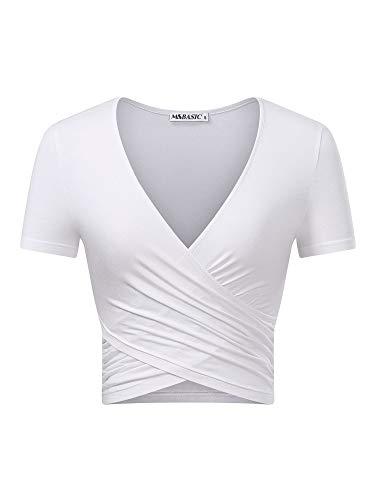 MSBASIC Tops Crop Damen Kurzarm Weißes Top V Ausschnitt Damen T Shirts Damen V Ausschnitt Weiß-Kurzarm Klein