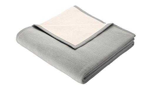 Biederlack Wohn- & Kuscheldecke, 50 prozent Baumwolle, 50 prozent Schurwolle, Samtband-Einfassung, 150 x 200 cm, Silber, Pure Nature, 241827