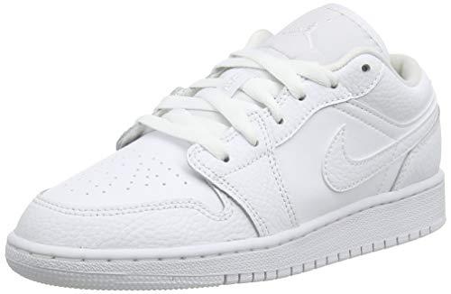 Nike AIR Jordan 1 Low (GS), Chaussure de Basketball, Blanc, 36.5 EU