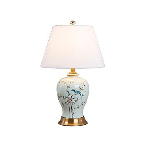 JYDQM Tabla Pantalla de lámpara florero de cerámica Floral Blanco del Tambor for el Dormitorio de la Sala de la Familia Mesilla de Noche de la lámpara