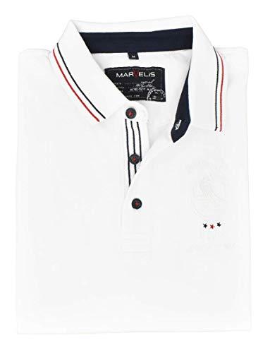 Marvelis Poloshirt Pique Halbarm Patch Kragen mit Besatz Reine Baumwolle, Größe:3XL