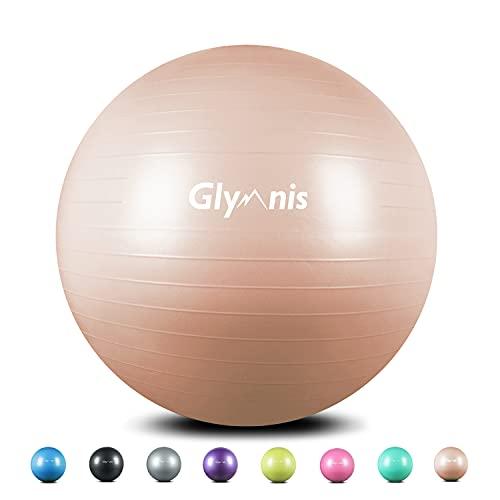 Glymnis Gymnastikball Sitzball 55cm 65cm 75cm Dicker Pilates Ball inkl. Luftpumpe Anti-Burst Yoga Ball Robuster 300kg Maximalbelastbarkeit für Core Fitness Hause Büro (Roségold, 55 cm)
