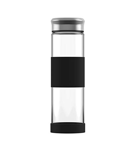 ELDR Supply 500ml Glass Water Bottle, Easy to Clean Wide Mouth, Silicone Sleeve and Base, Handmade Clear Borosilicate Glass, 1-Pack (16.9oz / .5 Liter)