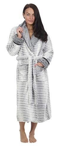 CityComfort Damen Morgenmantel Mit Kapuze - Fleece Morgenmantel Lang Winter Warm Weich Fleece - Super Flauschiger Morgenmantel - Geburtstagsgeschenk Frauen (L, Luxuriöses Grau)