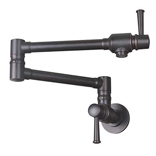JZBRAIN Pot Filler Faucet Stainless Steel Wall Mount Kitchen Faucet Commercial Faucet Oil Rubbed Bronze Folding Stretchable Double Joint 2 Handles Kitchen Sink Faucet (ORB)