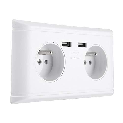 KSTE Multi-Fonctionnelle UE Prise Murale Prise de Courant Prise avec Double Port USB for Chargeur de téléphone 250V