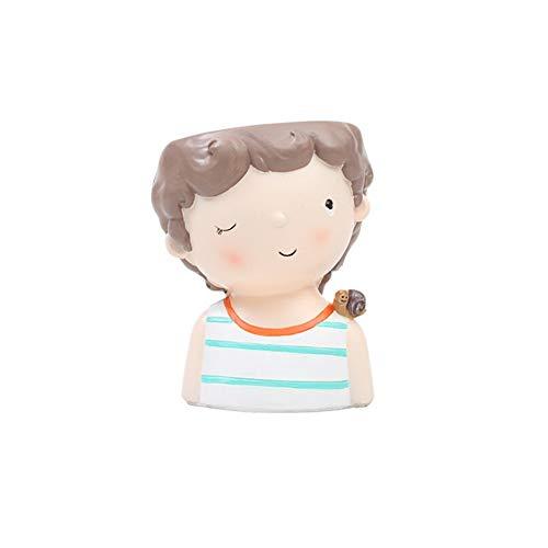 Jarrón decorativo Mini linda chica niño plantador maceta maceta maceta plantador escritorio jarrón en casa oficina bonsai pote casero jardín decoración del hogar Floreros decorativos (Color : 08)