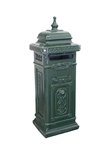 Antike Fundgrube Englischer Briefkasten freistehend aus Beton in grün | nostalgisch Postkasten Standbriefkasten | H: 110 cm (742)