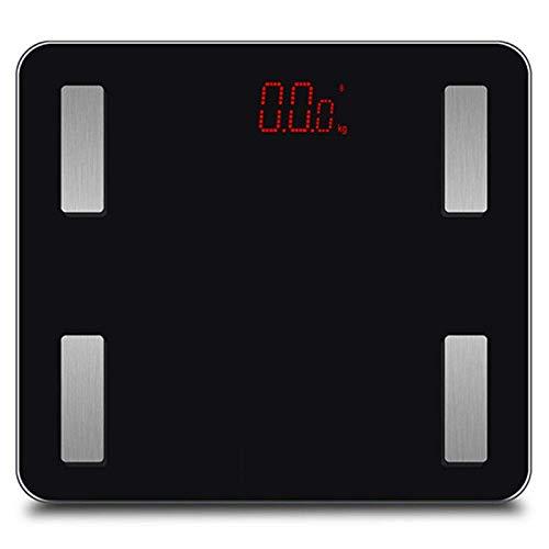 BINGFANG-W Discs Waage Bluetooth App Körperfett-Waage-Skala, Intelligent Electronic LED Digital Gewicht Badezimmerwaagen, Gleichgewicht for Android iOS Max 180kg, Schwarz Abrasive