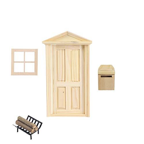 Super Idee Wichteltür Weihnachten Set Miniatur Wichtel Set Wichtel Tür Nissedor zum Basteln und Gestalten Elfentür Feentür mit Zubehör Fenster Briefkasten Brennholz Verzierungen für Weihnachten