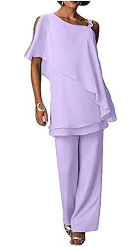 Women's Two Pieces Chiffon Pants Suits Plus Size Mother's Outfit for Wedding Evening Gowns Dress Suit Lavender US20W