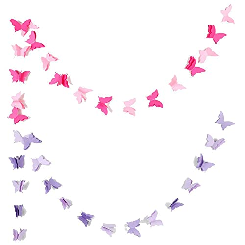 3D Bandiera di Carta Farfalla Ghirlanda di Farfalle Decorativo Banner Farfalla di Carta per Feste di Compleanno, Matrimoni, Battesimi Decorazioni 118 Pollici Lunghezza,Rosa e Viola 2 Pezzi