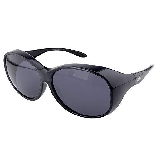 ActiveSol Gafas superpuestas Mega para señora | Gafas de Sol polarizadas para Poner Encima de Las Gafas | UV400 | para Coche y Bicicleta | Gafas sobre Gafas | Gafas polarizadas| 32 g (Negro)