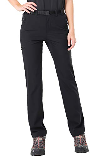 MIER Women's Quick Dry Cargo Pants Lightweight Tactical Hiking Pants with 6 Pockets, Stretchy and Water-Resistant, Black, 10