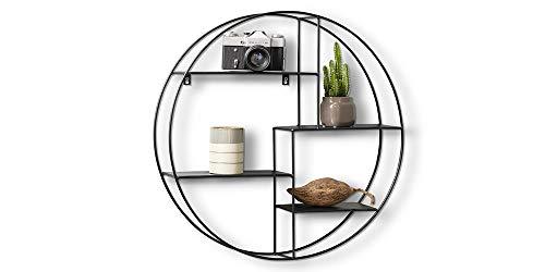 LIFA LIVING Rundes Wandregal modern aus schwarzem Metall, Gewürzregal im Industrie Design, Küchenregal mit 4 Böden, Wanddeko Ø 55 cm x 11 cm