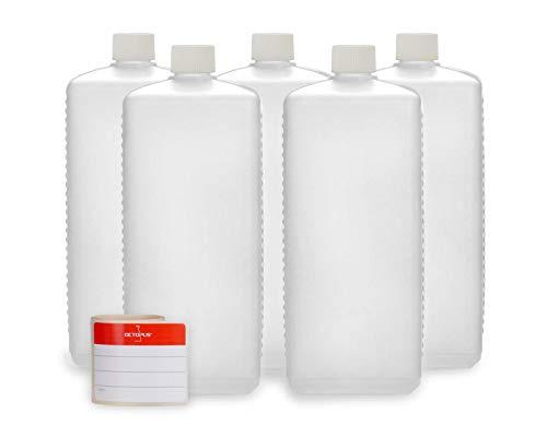 Octopus 5X 1000 ml Kunststoffflaschen, HDPE Plastikflaschen mit weißen Schraubverschlüssen, Leerflaschen mit weißen Schraubdeckeln, Vierkantflaschen inkl. Beschriftungsetiketten