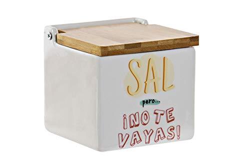DRW Salero Original cerámica Cuadrado con Tapa bambú 12x12x12 cm (Sal Pero...