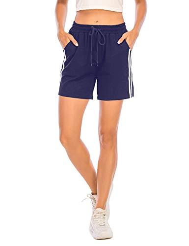 Enjoyoself Damen Kurze Sporthose Stretch Sommer Sweatshorts mit Gummibund Chic Hose zum Yoga,Laufen,Zumba,Tranning,Navyblau,S