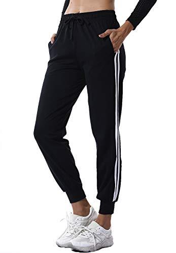 SEASUM Pantaloni Sportivi da Donna Moda Lunghi Casual Jogger con Tasche e Coulisse Training Pants Jogging Fitness Allenamento, A-Nero S