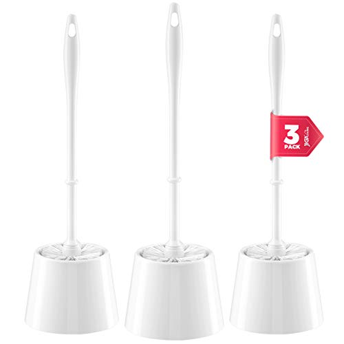 JIGA 3 Pack Toilet Brush and Holder, Toilet Bowl Brush with Caddy Bathroom Brush Stiff Bristles Toilet Scrubber Brush, White
