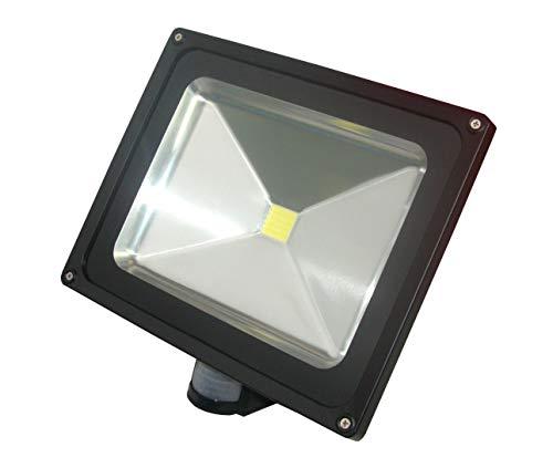 Foco LED 10W 20W 30W 50W 100W Sensor de movimiento de seguridad exterior de pared de la luz de inundación PIR al aire libre, Blanco cálido (3000 K)., 50Watts