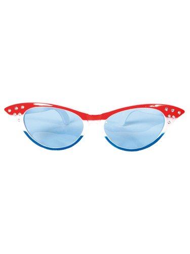 Folat Lunettes de fête (Taille Unique, Rouge/Blanc/Bleu)