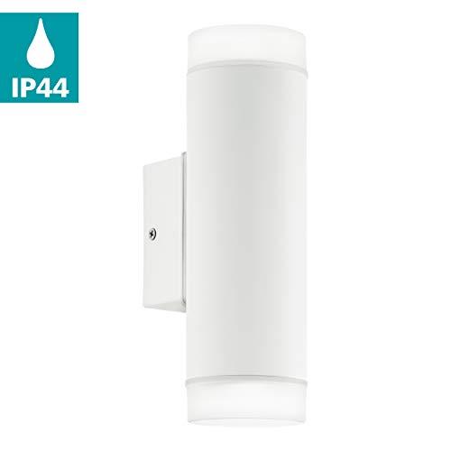 EGLO LED Außen-Wandlampe Riga-LED, 2 flammige Außenleuchte, Wandleuchte aus verzinktem Stahl und Kunststoff, Farbe: Weiß, IP44