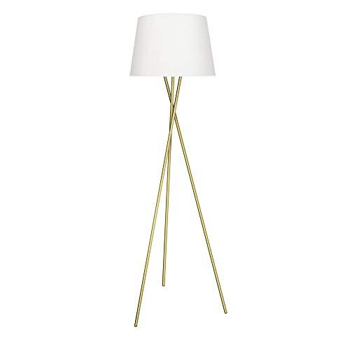 LED Stehleuchte Tripod Stehlampe weiß-gold Ø45cm inkl. E27 Leuchtmittel 4W = 40W warmweiß mit Schalter