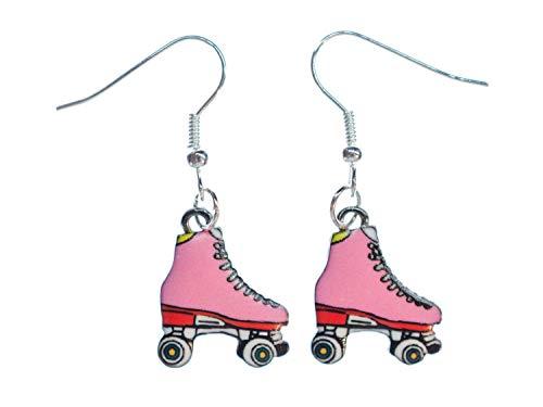 Miniblings Rollschuhe rosa Ohrringe Hänger Rollerskates Stiefel Skates Metall - Handmade Modeschmuck I Ohrhänger Ohrschmuck versilbert