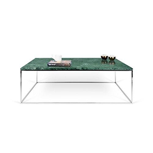 Paris Prix - Temahome - Table Basse Gleam 120cm Marbre Vert & Métal Chromé