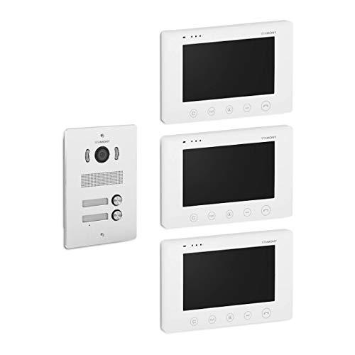Stamony Sistema De Videoportero Interfono con Pantalla ST-VP-300 (Amplio ángulo de 92-120°, 3 monitores LCD a Color, Pantalla de 17,8 cm)