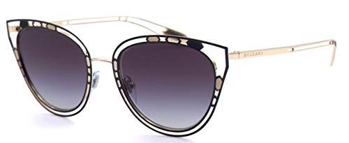 Bulgari 0BV6104 20238G 54 Gafas de sol, Negro (Black/Pink Gold/Greygradient), Mujer